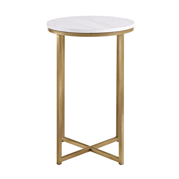 16-Inch Round Side Table - Marble/Gold, image 4