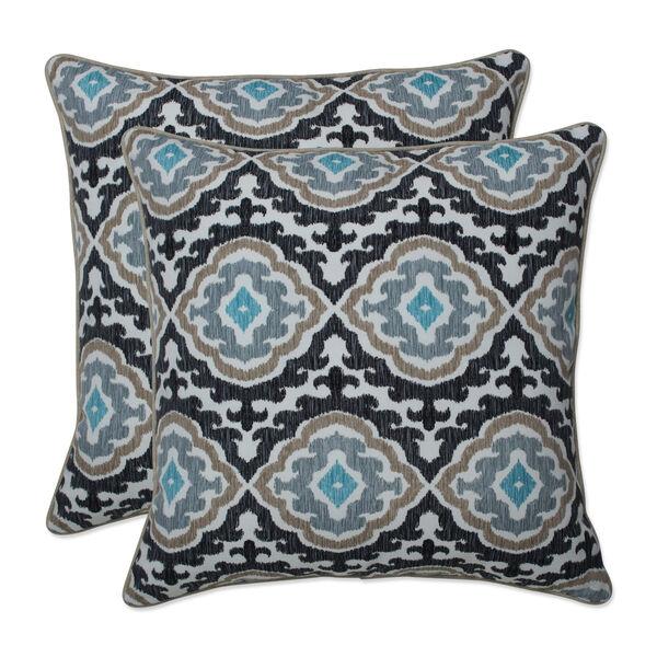Agrami Black Tan Gray 18-Inch Throw Pillow, Set of Two, image 1