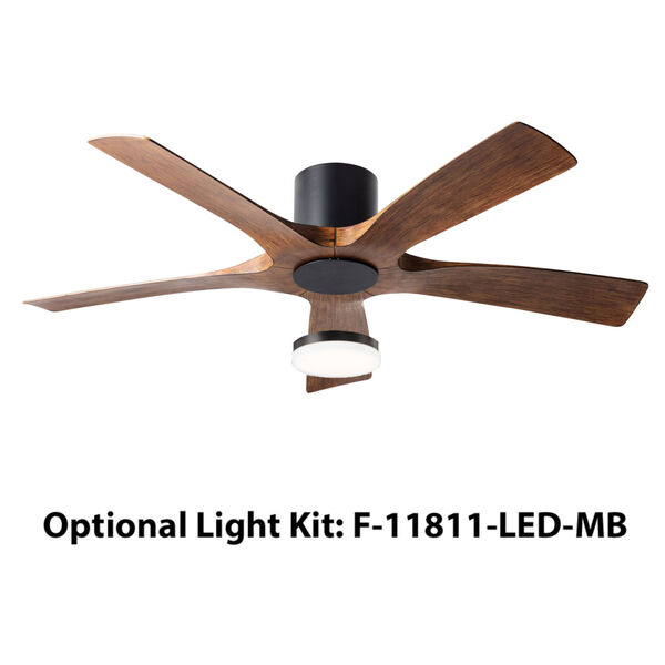 Aviator Matte Black and Distressed Koa 54-Inch ADA LED Flush Mount Ceiling Fan, image 4