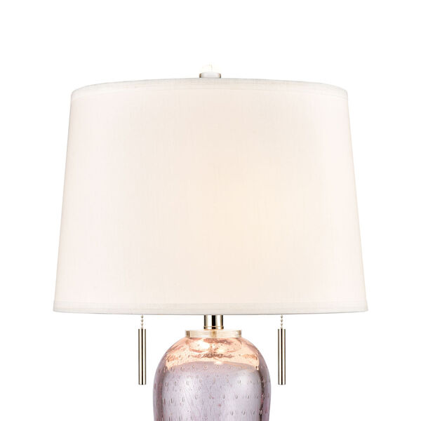 Raegan Pink Art Glass and Polished Nickel One-Light Table Lamp, image 3