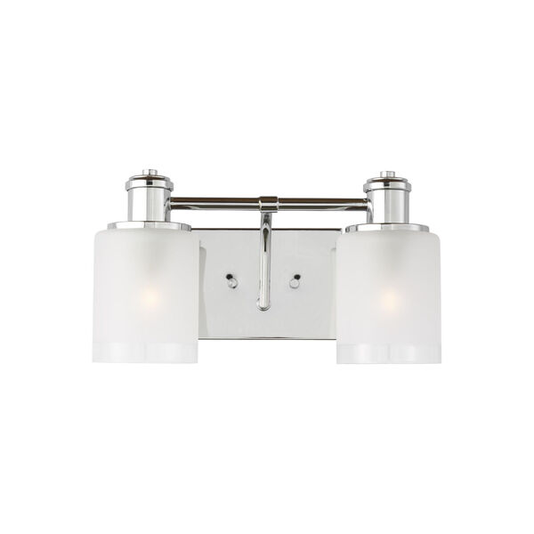 Norwood Chrome Two-Light Bath Vanity with Clear Highlighted Satin Etched Shade Energy Star, image 1