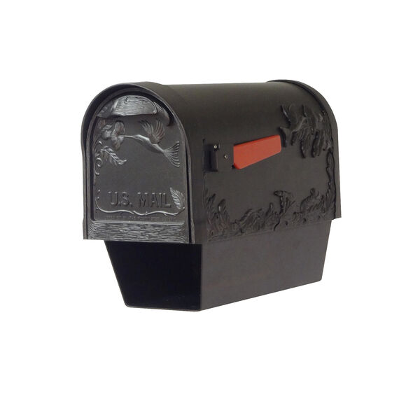 Curbside Black Nine-Inch Hummingbird Mailbox with Newspaper Tube and Baldwin Front Single Mounting Bracket, image 1