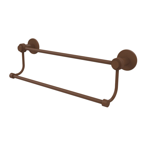 Mercury Collection 24 Inch Double Towel Bar with Groovy Accents, Antique Bronze, image 1