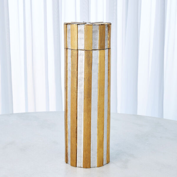 Nickel and Brass 6-Inch Metal Vertical Stripe Box, image 3