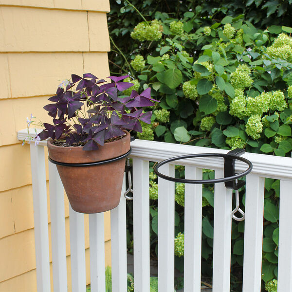 Black Powdercoat 8-Inch Clamp-on Flower Pot Ring, Set of Two, image 3