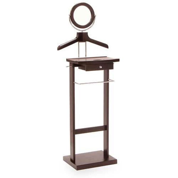 Wood Valet Stand with Mirror, image 1
