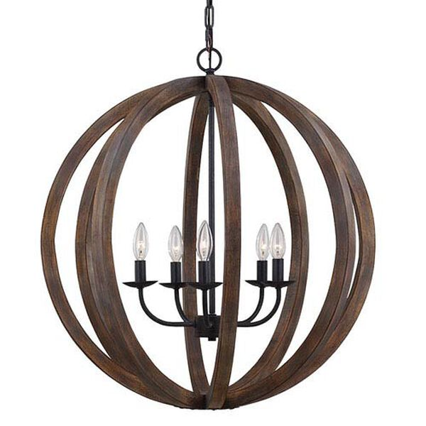 Hyattstown Weathered Wood and Iron Five-Light Chandelier, image 1