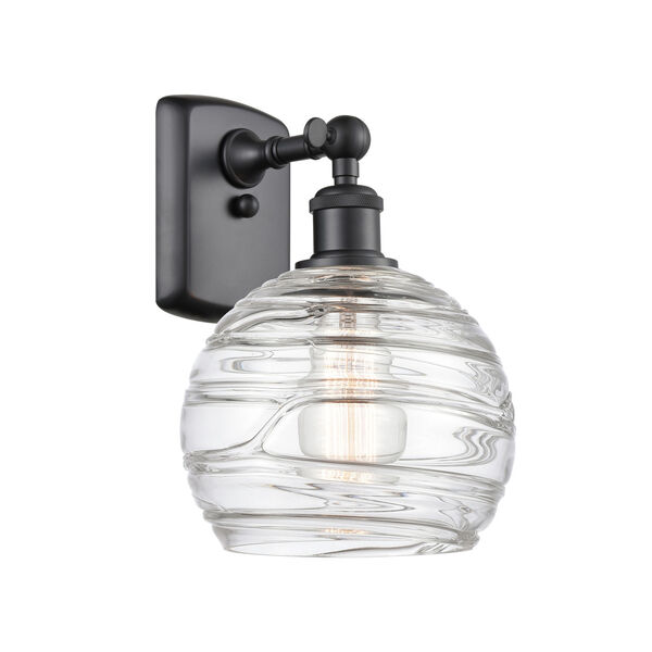 Ballston Matte Black Eight-Inch One-Light Wall Sconce with Clear Deco Swirl Shade, image 1