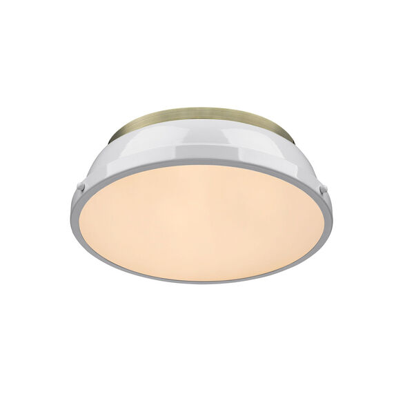 Duncan Aged Brass Two-Light Flush Mount with White Shades, image 3