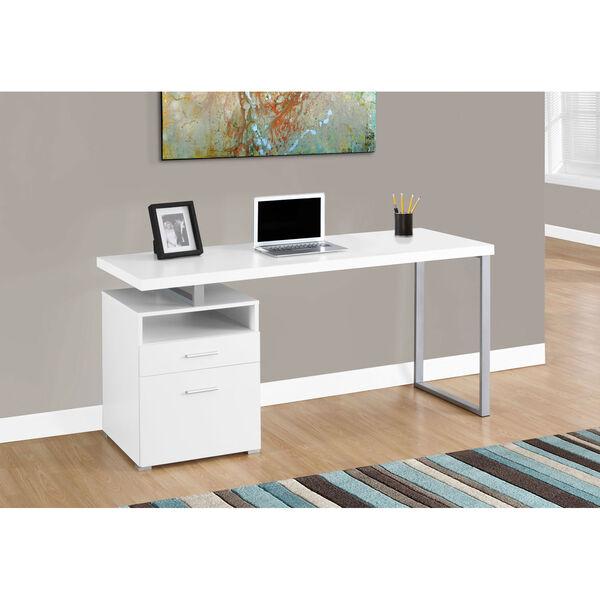 White 60-Inch Computer Desk, image 1