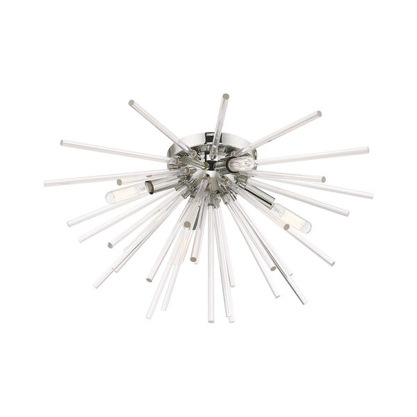 Utopia Polished Chrome 20-Inch Four-Light Ceiling Mount with Clear Crystal Rods, image 4