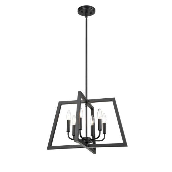 Matte Black 21-Inch Six-Light Pendant, image 1