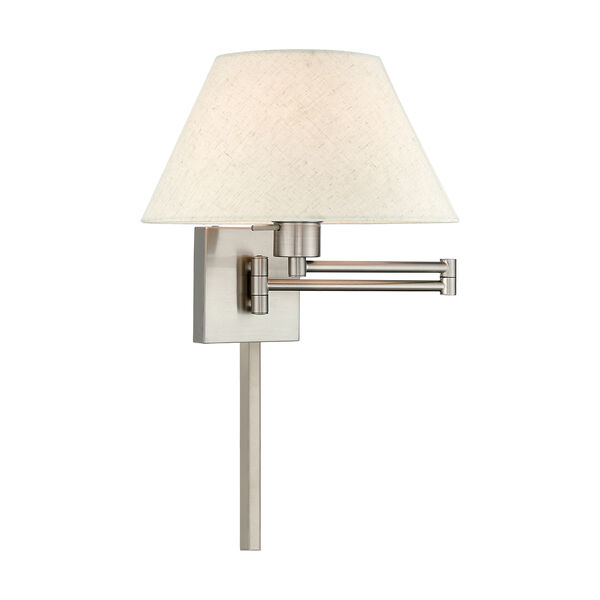 Swing Arm Wall Lamps Brushed Nickel 13-Inch One-Light Swing Arm Wall Lamp with Hand Crafted Oatmeal Hardback Shade, image 1