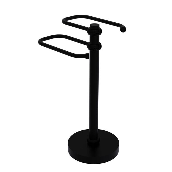 Matte Black Eight-Inch Free Standing Two Arm Guest Towel Holder with Twisted Ring Detail, image 1