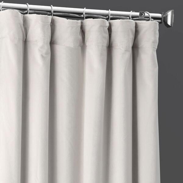 Porcelain White Blackout Velvet Pole Pocket Single Panel Curtain, 50 X 108, image 3