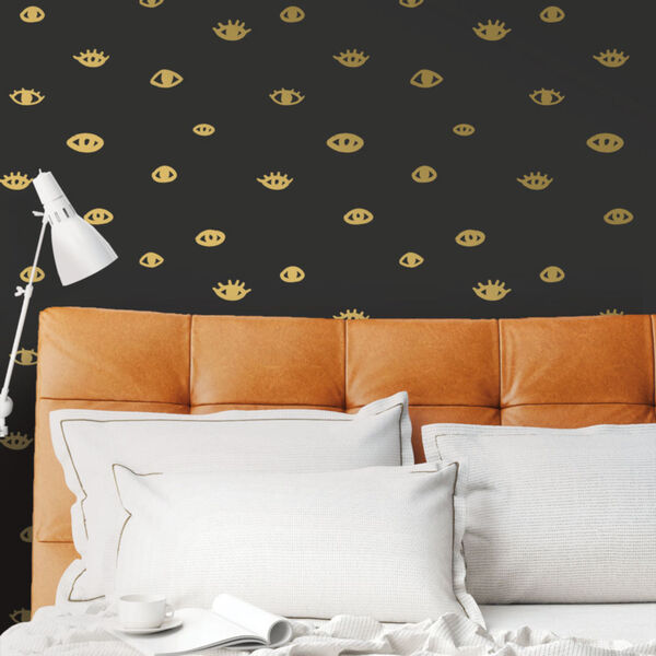 Bobby Berk Black and Gold Eye See You Peel and Stick Wallpaper, image 1
