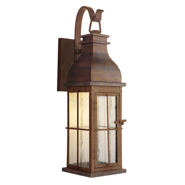 Vincent Weathered Copper Seven-Inch LED Outdoor Wall Lantern, image 1