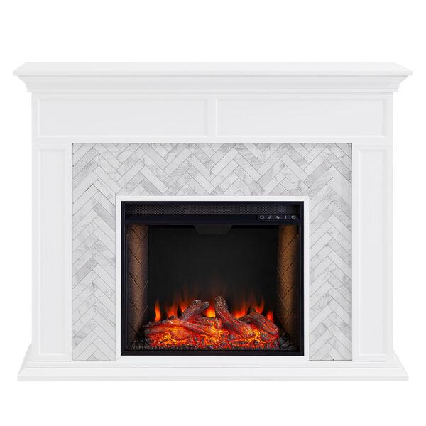 Torlington White Tiled Marble Electric Fireplace Mantel with Alexa Firebox, image 4