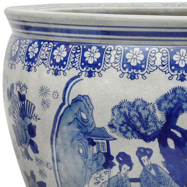 14 Inch Ladies Blue and White Porcelain Fishbowl, image 2