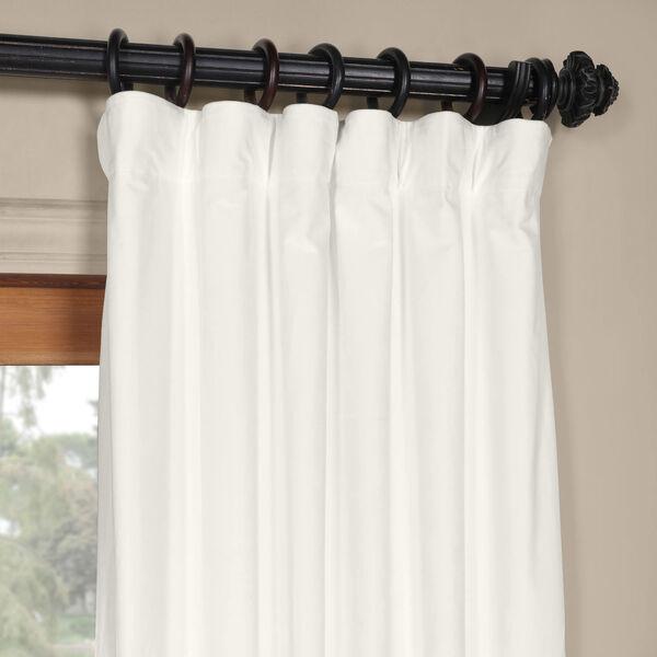White 108 x 50 In. Plush Velvet Curtain Single Panel, image 2