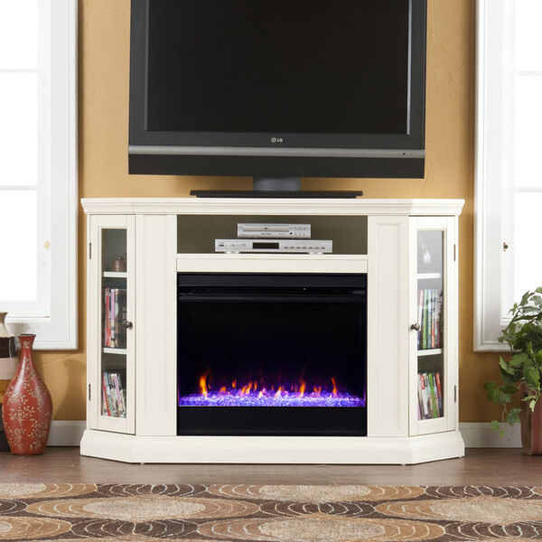 Claremont Ivory Color Changing Convertible Electric Fireplace, image 1