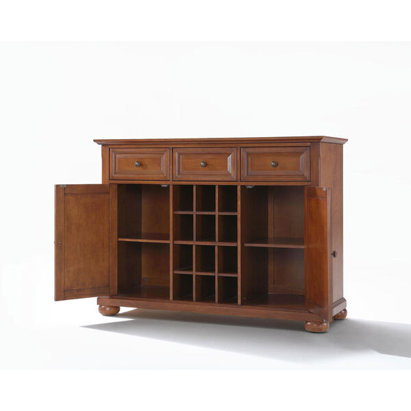 Alexandria Buffet Server / Sideboard Cabinet with Wine Storage in Classic Cherry Finish, image 2