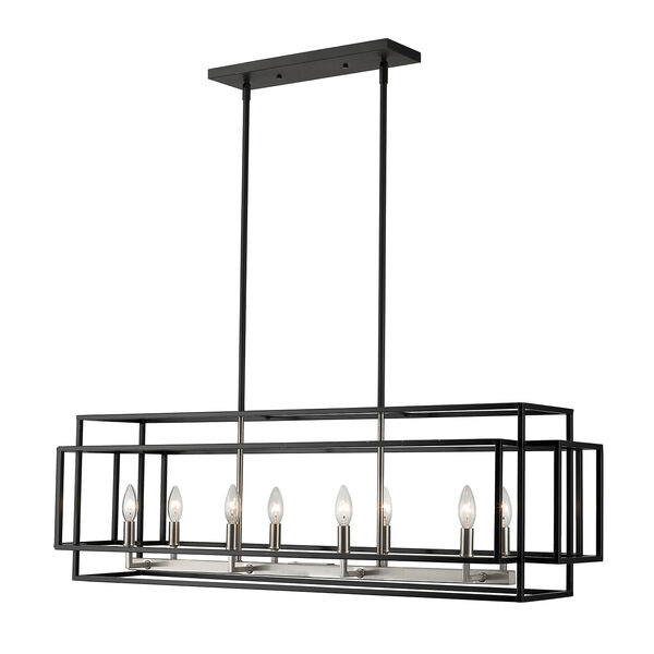 Titania Black and Brushed Nickel Eight-Light Linear Pendant, image 1