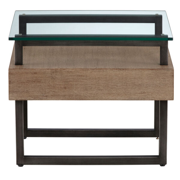 Slade Natural Rectangular End Table with Glass Top, image 3