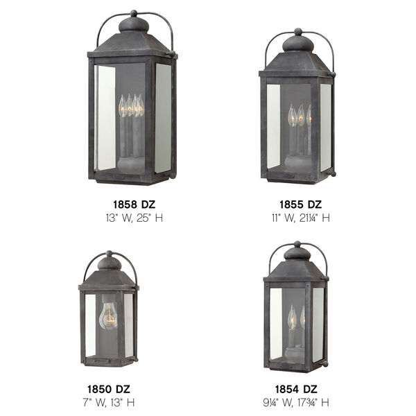 Anchorage Aged Zinc Two-Light Outdoor Wall Sconce, image 3