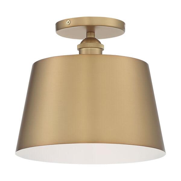 Motif Brushed Brass and White 10-Inch One-Light Semi-Flush Mount, image 4