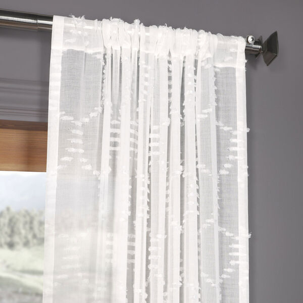 White Shell Patterned Faux Linen Sheer 84 x 50 In. Curtain Single Panel, image 3