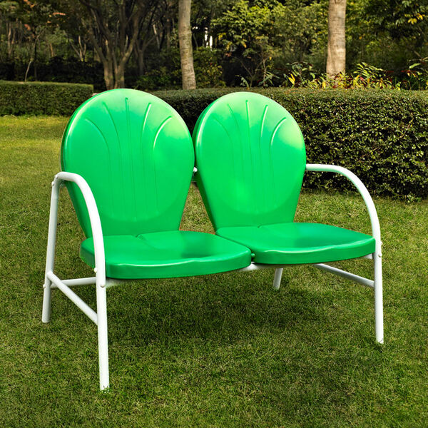 Griffith Metal Loveseat in Grasshopper Green Finish, image 2