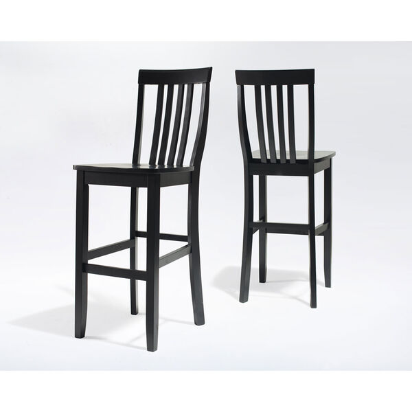School House Bar Stool in Black Finish with 30 Inch Seat Height- Set of Two, image 3