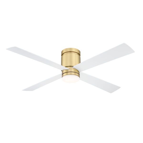 Kwartet Brushed Satin Brass 52-Inch LED Indoor Outdoor Ceiling Fan, image 1