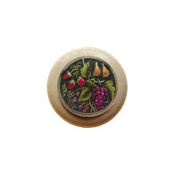 Natural Wood Tuscan Bounty Knob with Brass, image 1