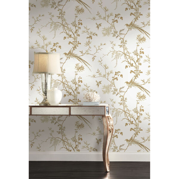Ronald Redding 24 Karat White and Gold Bird And Blossom Chinoserie Wallpaper, image 1