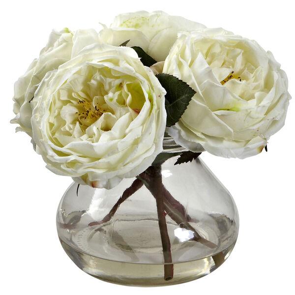White Fancy Rose with Vase, image 1