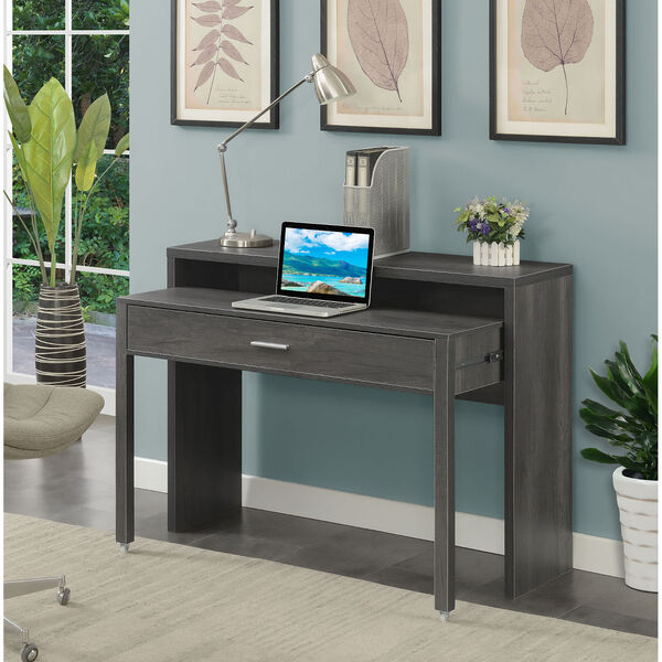 Newport JB Charcoal Gray Sliding Desk with Drawer and Riser, image 2