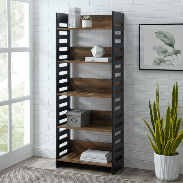 Howard Reclaimed Barnwood and Solid Black Five Self Bookcase, image 2