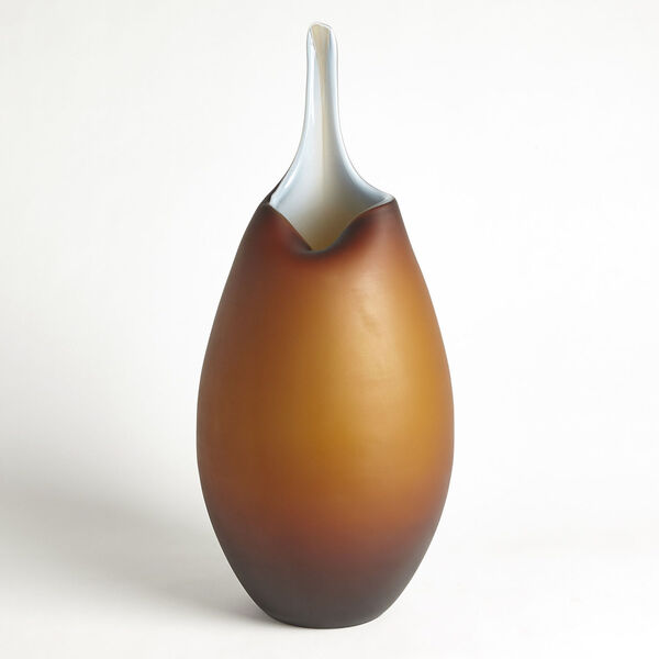 Frosted Amber and Blue Casing Vase, image 4