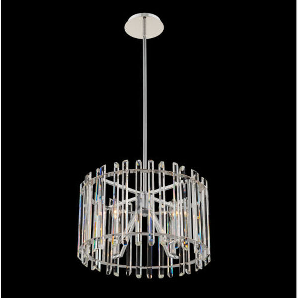 Viano Polished Chrome Four-Light Pendant with Firenze Crystal, image 2