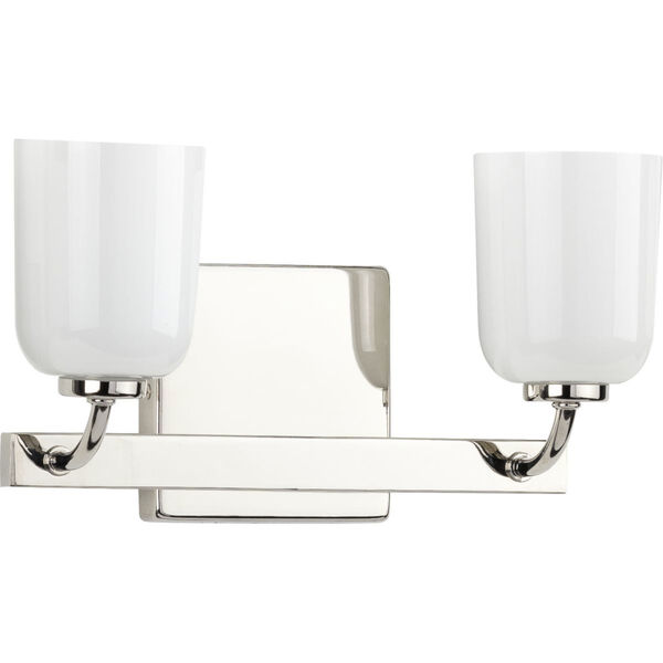 Moore Polished Nickel 13-Inch Two-Light Bath Vanity with White Opal Shade, image 1