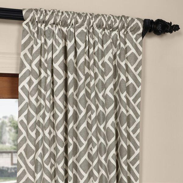 Martinique Grey 84 in. x 50 in. Printed Cotton Curtain Panel, image 3