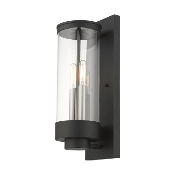 Hillcrest Textured Black Two-Light Outdoor Wall Lantern, image 4