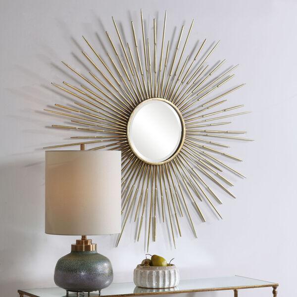 Golden Antiqued Gold Leaf Rays Starburst Mirror, image 5