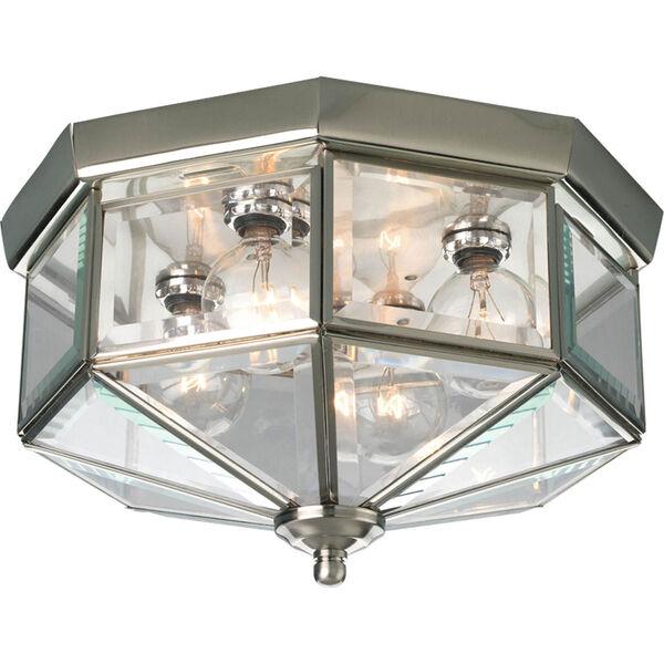 Webster Beveled Glass Brushed Nickel Four-Light Flush Mount with Clear Beveled Glass Panels, image 1