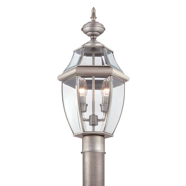 Newbury Pewter Outdoor Post-Mounted Lantern, image 3