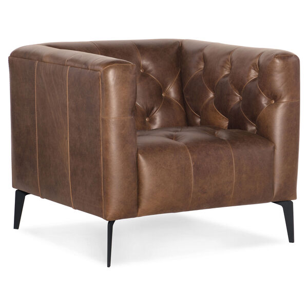 Nicolla Blrown Leather Stationary Chair, image 1