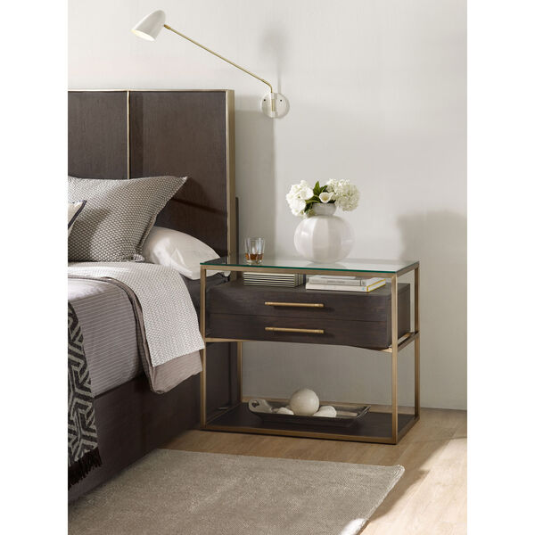 Curata Dark Wood and Gold One-Drawer Nightstand, image 2