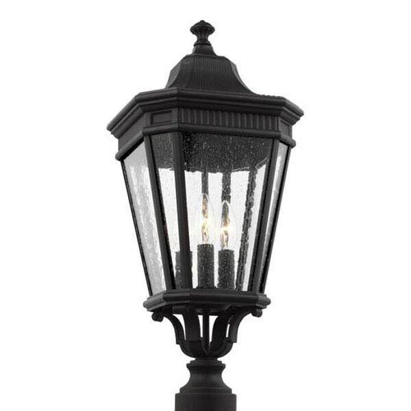 Castle Black 10-Inch Three-Light Outdoor Post Lantern, image 1